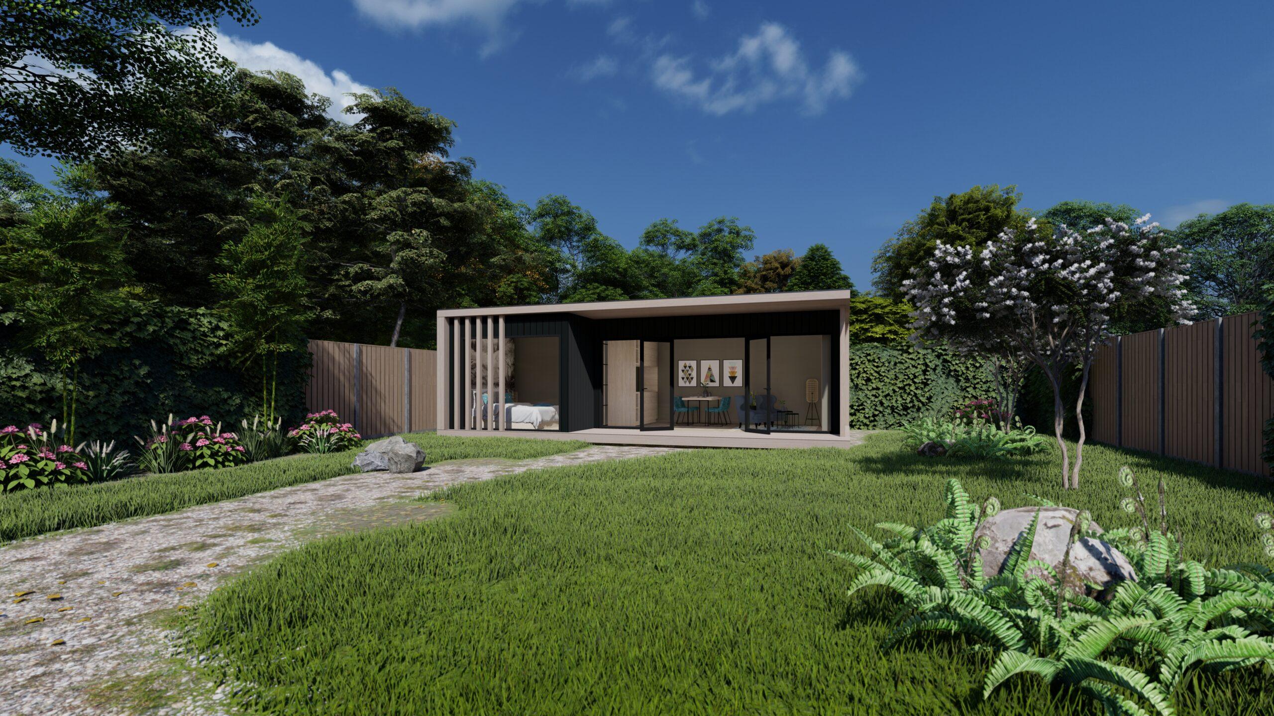 Prefab gebouw met tuin